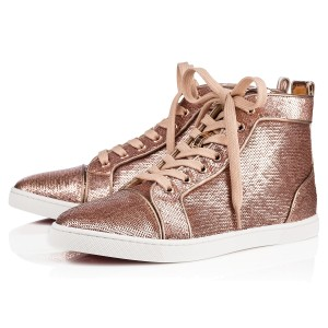 Christian Louboutin Hi Top Sneakers Trainers Sequin Nude Athletic