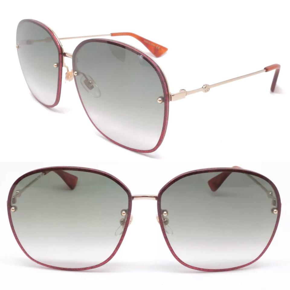69341c9bf6f Gucci Red Gold Bee Collections Square Sunglasses