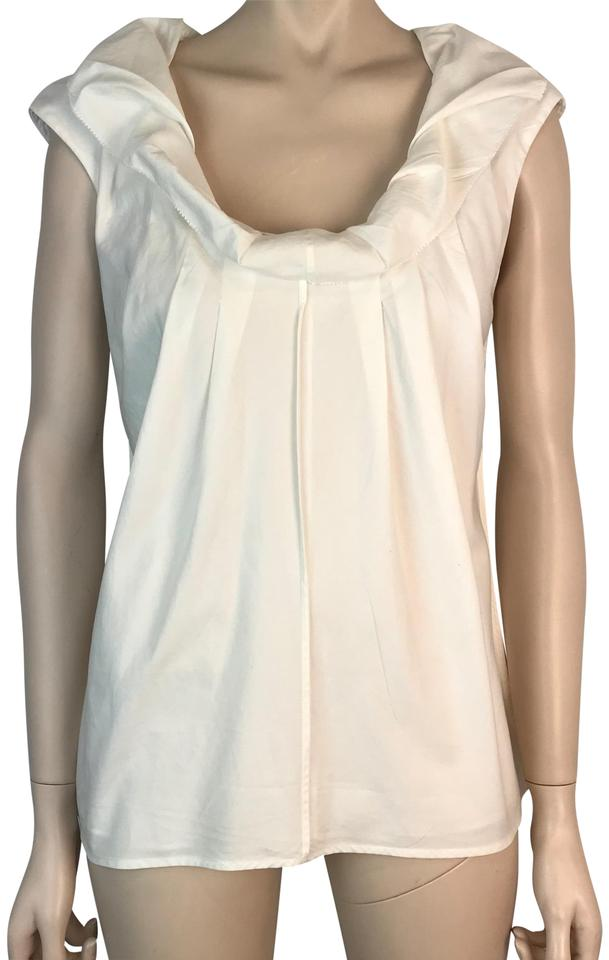 d0b7aac450a00 Lela Rose White Cotton Sleeveless Ruffled Neckline Pleated Blouse ...