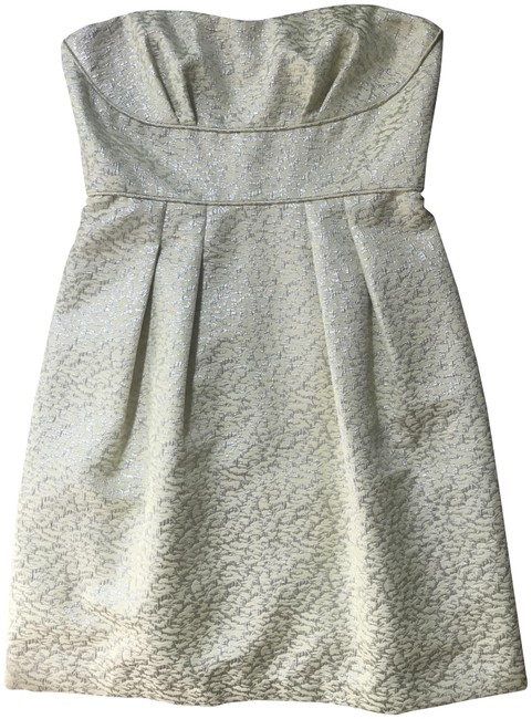 Item - Yellow & Silver Print Strapless Short Cocktail Dress Size 6 (S)