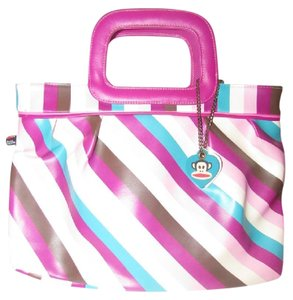 Paul Frank Mint Vintage Multiple Compartment Classic Large Style Bold Tote in ivory, turquoise, plum, and lavender striped print