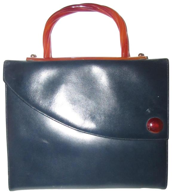 Item - French Purses/Designer Purses Navy Leather with Marbled Honey Amber Bakelite Handle and Accents Satchel