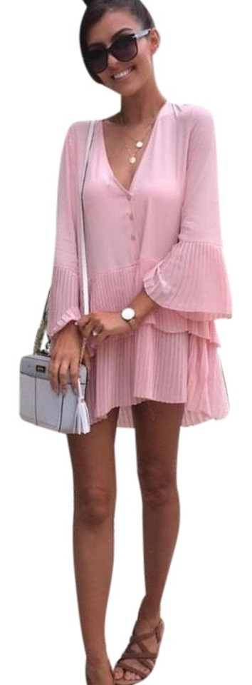 44c2c86d Zara Pink Blogger Fav Pleated Blouse Short Casual Dress Size 8 (M ...