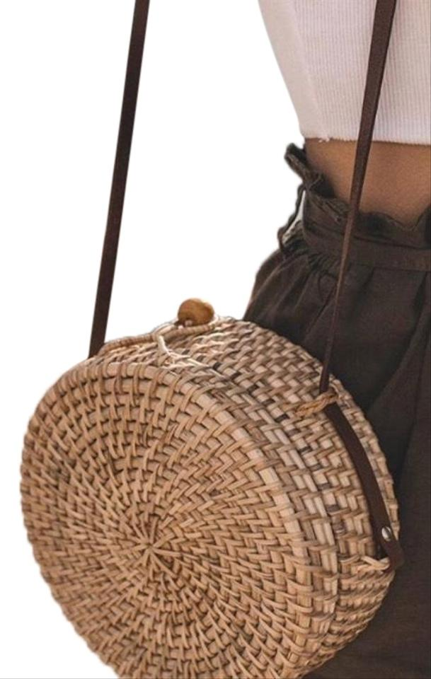 8a4836a86a Zara Favorite Blogger Round Raffia with Leather Straps Brown Cross Body Bag  45% off retail