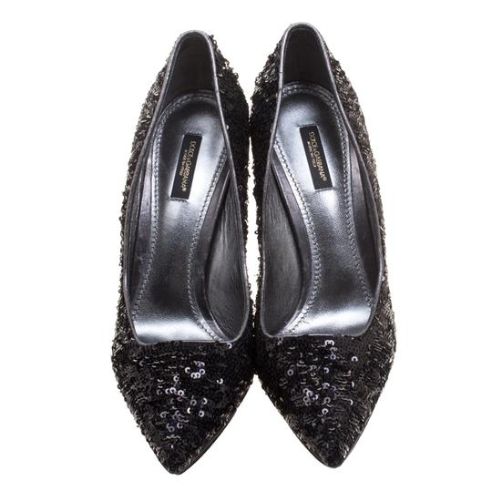 Dolce&Gabbana Sequin Pointed Toe Black Pumps