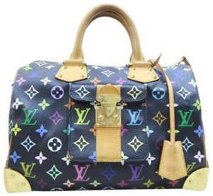 Louis Vuitton Lv Speedy Canvas Multicolore Satchel in black