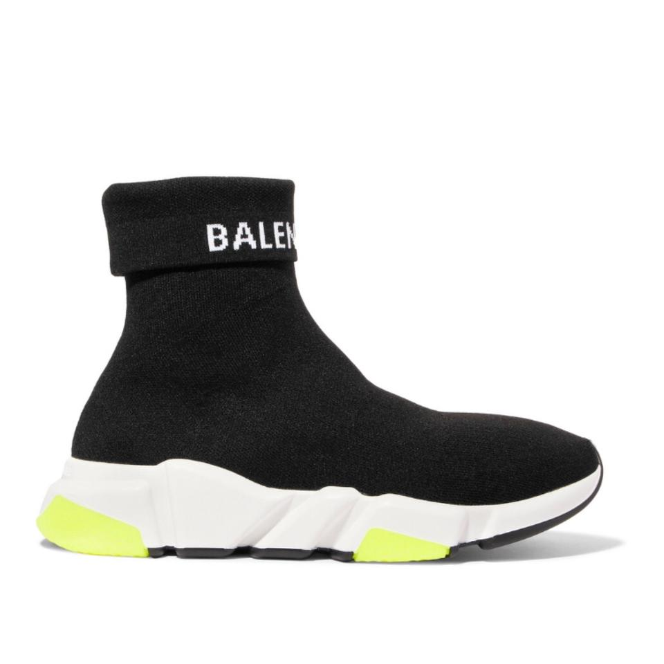 363a7545de3 Balenciaga Logo Speed Trainer High Folded Top Stretch Knit Sock ...