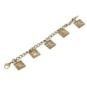 Chanel No 5 Charms Pink Crystal Gold Tone Bracelet