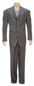 Austin Taylor Austin Taylor Gray Pin Stripe Three Button Men's Suit (Size 56)
