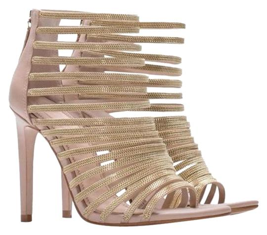 Zara Nude Cage Sandal with Gold Chains Ref. 6610/001 Pumps