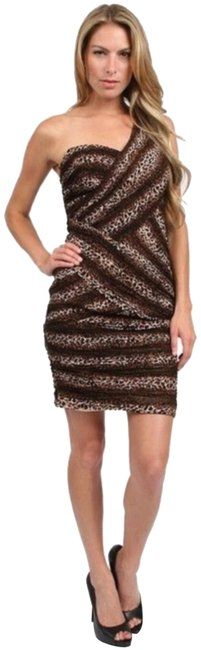 Item - Leopard Brown Print Mid-length Night Out Dress Size 4 (S)