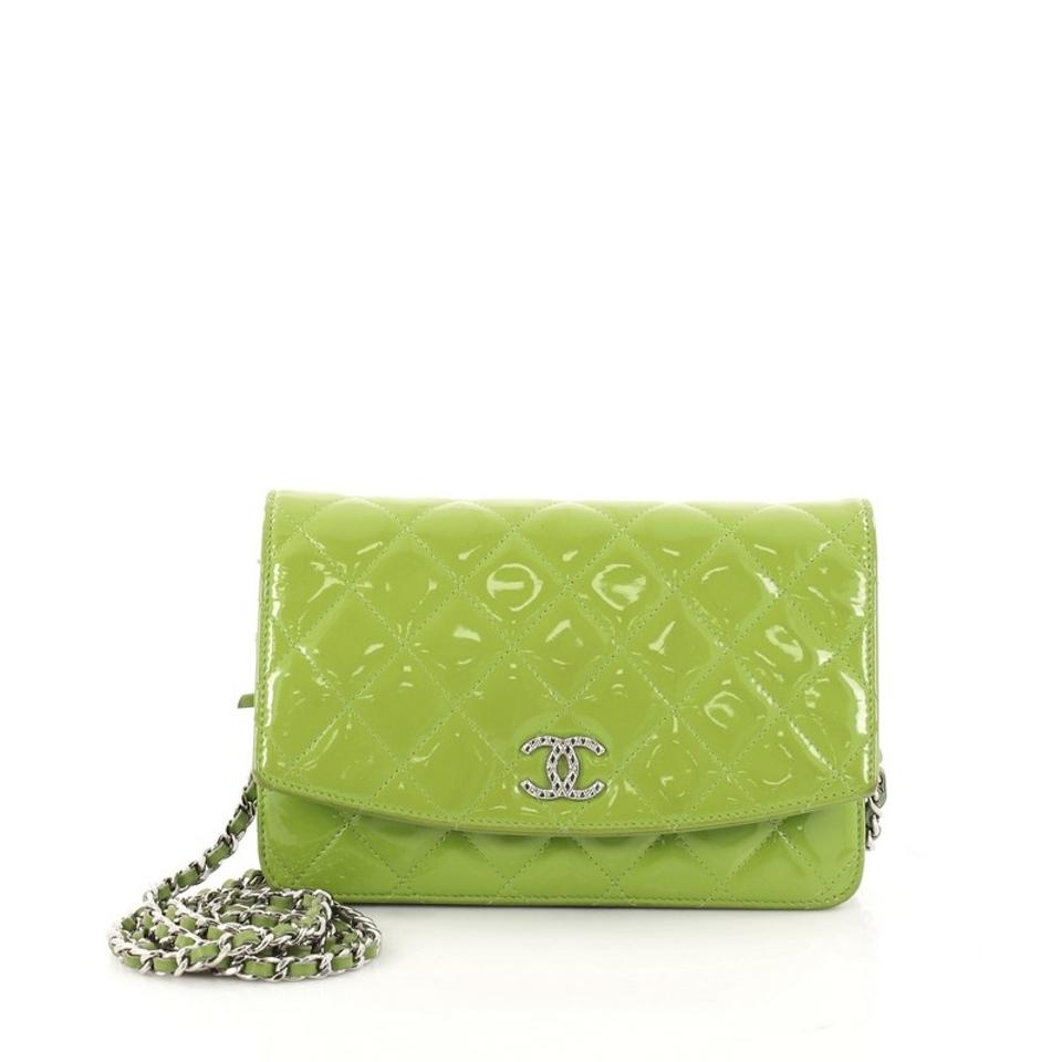 a163ef97ee88c0 Chanel Wallet on Chain Brilliant Quilted Green Patent Clutch - Tradesy