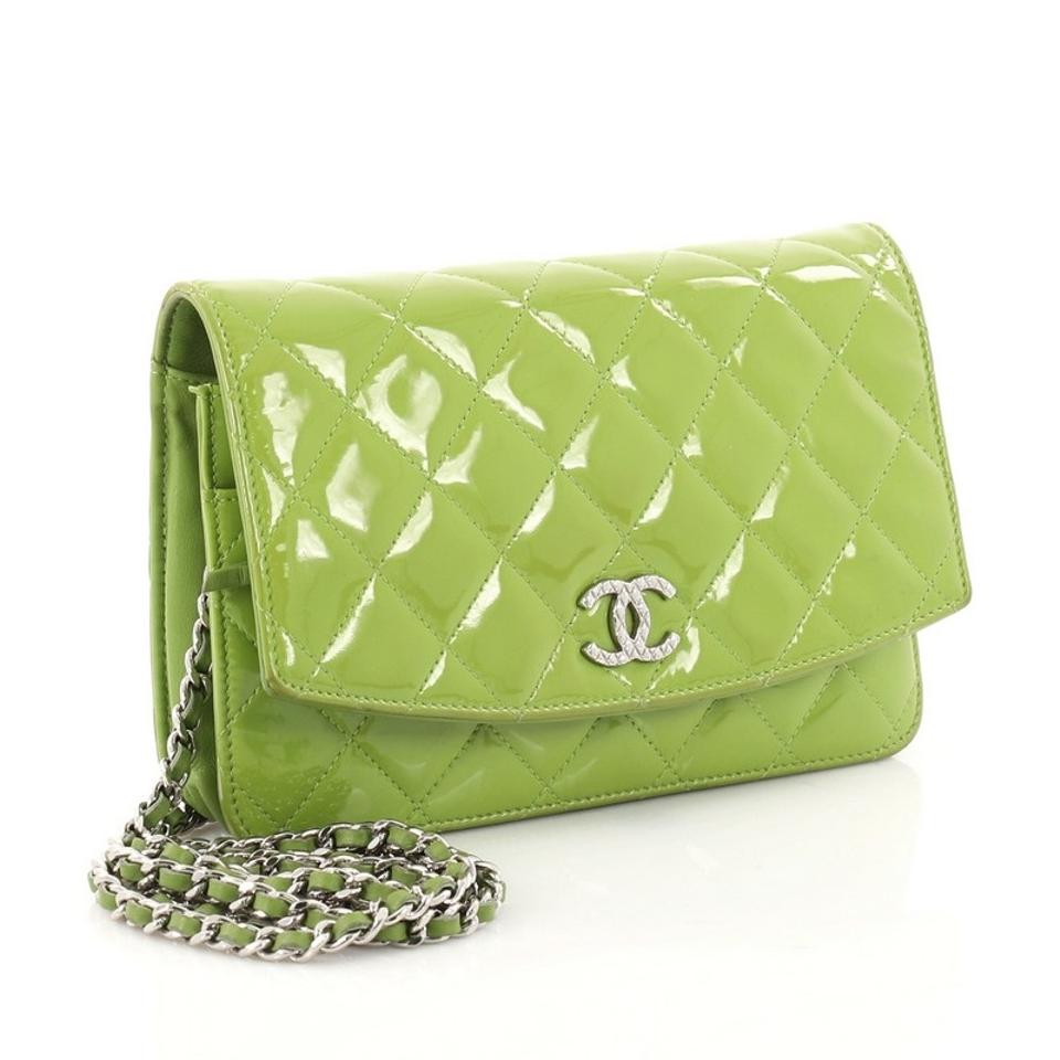 a7e6b01a71cd0f Chanel Wallet on Chain Brilliant Quilted Green Patent Clutch - Tradesy