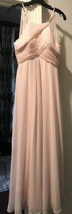 Bill Levkoff Petal Pink Chiffon Halter A-line Gown (5377387) Feminine Bridesmaid/Mob Dress Size 0 (XS)