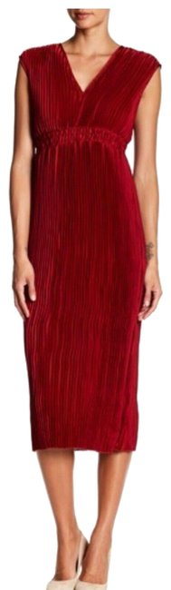 Item - Red Pleated V-neck Maxi Long Night Out Dress Size 6 (S)
