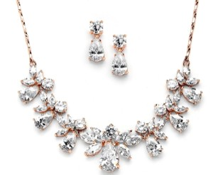 Pear Shaped Crystal Necklace In Rose Gold Jewelry Set