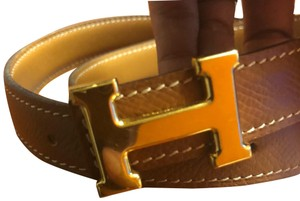 Hermès Hermes Gold & Brown Leather Gold Buckle Constance Belt Kit