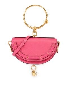 Chloé Leather Gold Hardware Bracelet Clutch Cross Body Bag