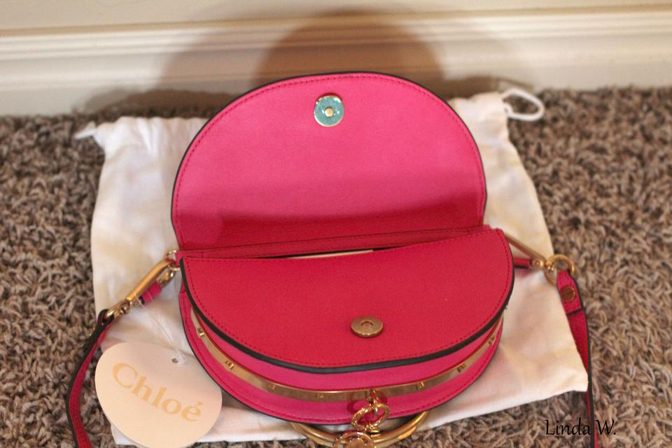 Red Chloé Cross Small Fuchsia Bracelet Leather Rose Pink Bag Body Nile Minaudiere qRgp0Aq