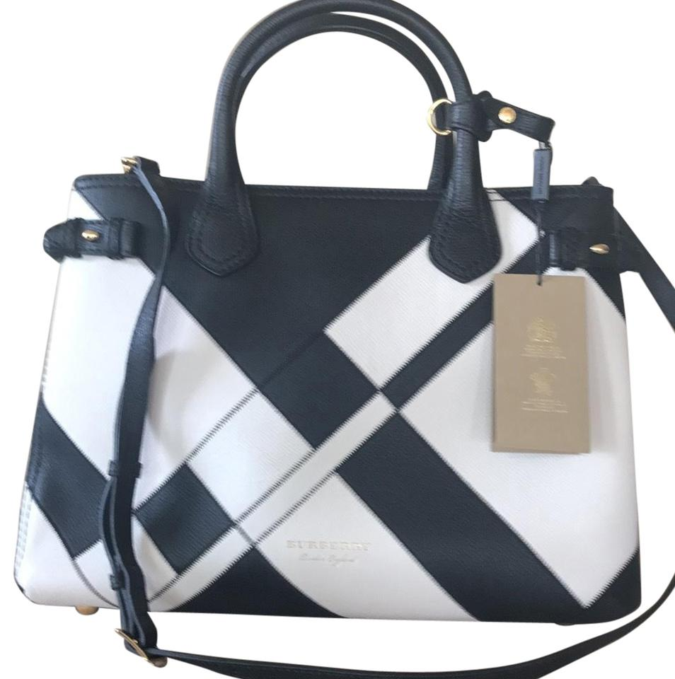 Burberry Bag Banner Medium Patchwork Black White Leather Tote 36 Off Retail