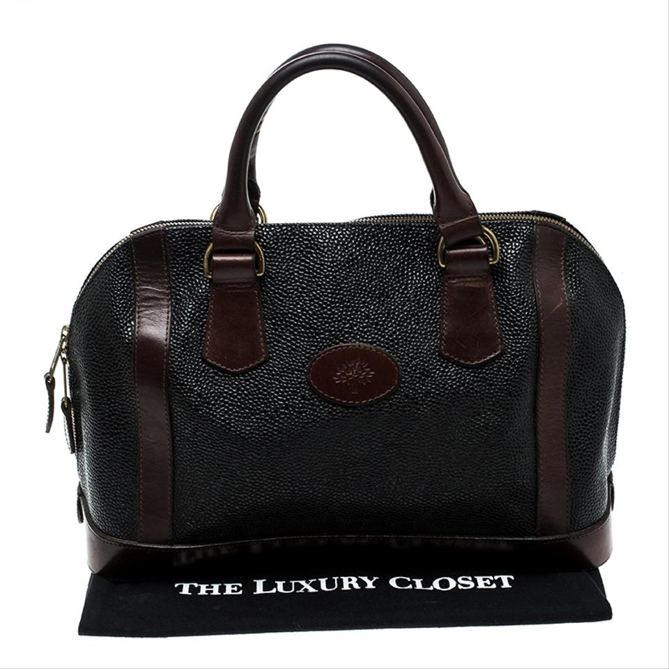 eebbb6a8d92 Mulberry Black Brown Scotchgrain Vintage Black Brown Leather Satchel -  Tradesy