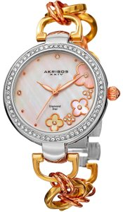 Akribos XXIV Diamond and Mother-of-pearl Floral watch