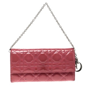 Dior Dior Pink Cannage Patent Leather Wallet on Chain