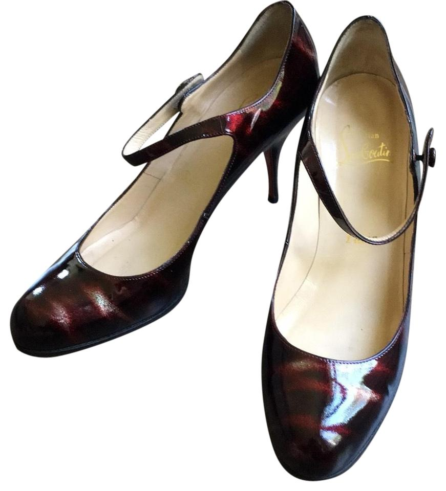 340c71d7f1a Christian Louboutin Dark Red Patent Leather Round Toe Pumps Size US ...