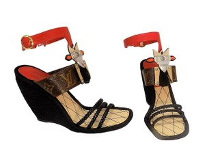 Louis Vuitton Spicy Tribal Monogram Open Toe Black Red Wedges