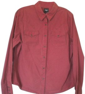 Cruel Girl Pearl Snap Long Sleeve Snap Front Button Down Shirt Pink/Brown