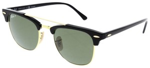 Ray-Ban Ray Ban Unisex Sunglasses RB3816 901/58 Black/Gold Frame Green Lens