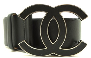 Chanel CC logo XL Extra Large silver buckle leather Belt size 80/32