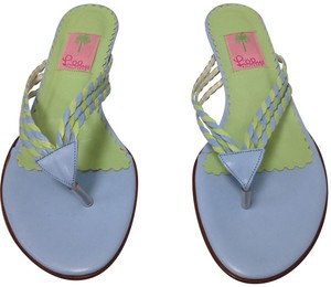 Lilly Pulitzer Leather Beach Blue Green Sandals
