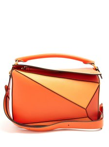 Loewe Leather Gold Hardware Shoulder Crossbody Panel Satchel in Orange