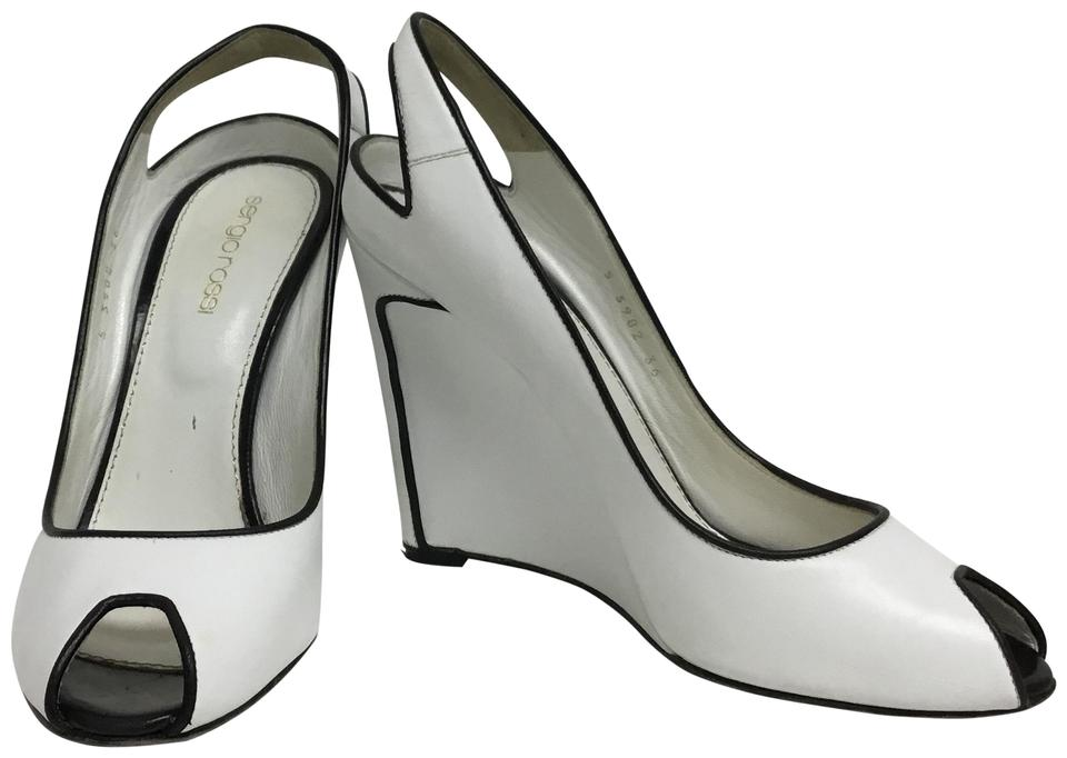 Sergio Rossi White Leather Peep Toe Slingback with Black Leather White Trim Wedges 9d3531