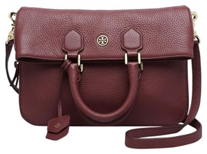 Tory Burch Leather Deep Plum Messenger Bag