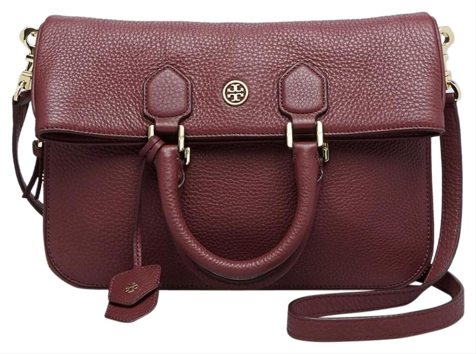 573b0761b33 Tory Burch Robinson Pebbled Foldover Deep Plum Leather Messenger Bag ...