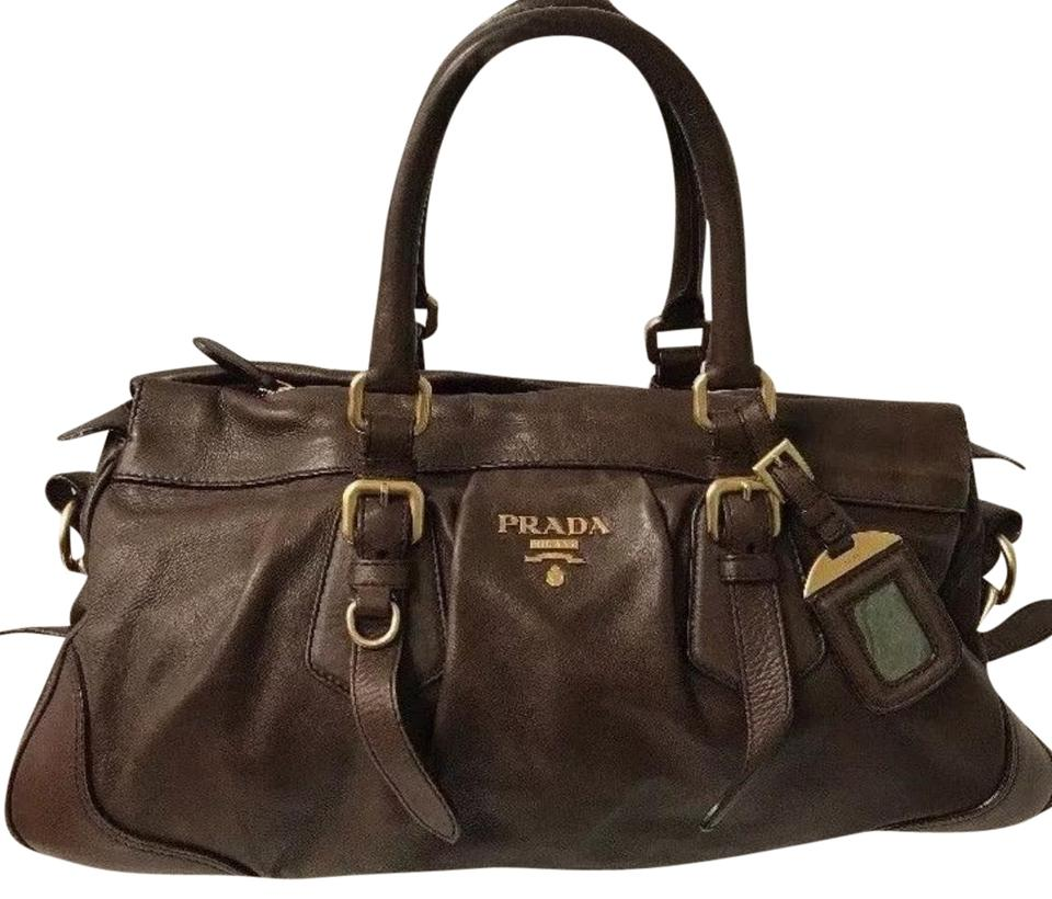 Brown Crossbody Prada Leather Handbag Bag Shoulder Tote xC77pwq4