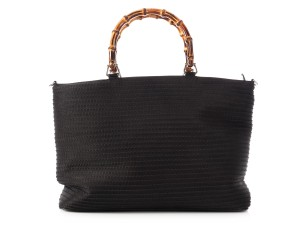 Gucci Gc.p0329.07 Large Vintage Canvas Bamboo Tote in BLACK