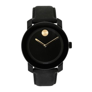 Movado NEW MENS MOVADO (3600480) BOLD BLACK LEATHER STRAP GOLD ACCENT WATCH