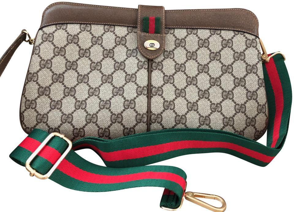 fe63e4575a44e5 Gucci Clutch Vintage Gg Supreme Monogram Leather Brown Canvas Cross Body Bag