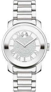 Movado NWT WOMENS MOVADO (3600254) BOLD SILVER CRYSTAL PAVE STAINLESS WATCH