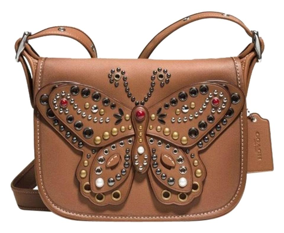 e6f9ab6454 Coach Patricia Saddle Butterfly Brown Glovetanned Leather Cross Body ...