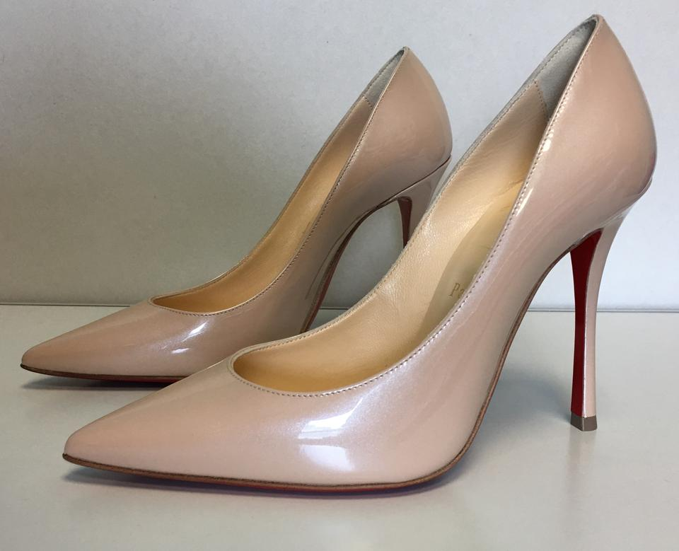 cb7dbf96ddf4 Christian Louboutin Nude Classic Decoltish 100mm Patent Nacre Leather Point-toe  Pumps Size EU 35 (Approx. US 5) Regular (M