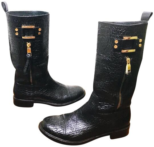 77d4efd8cd0 Tory Burch Black  stowe Moto  Pebbled Leather Mid-calf Distressed Boots  Booties