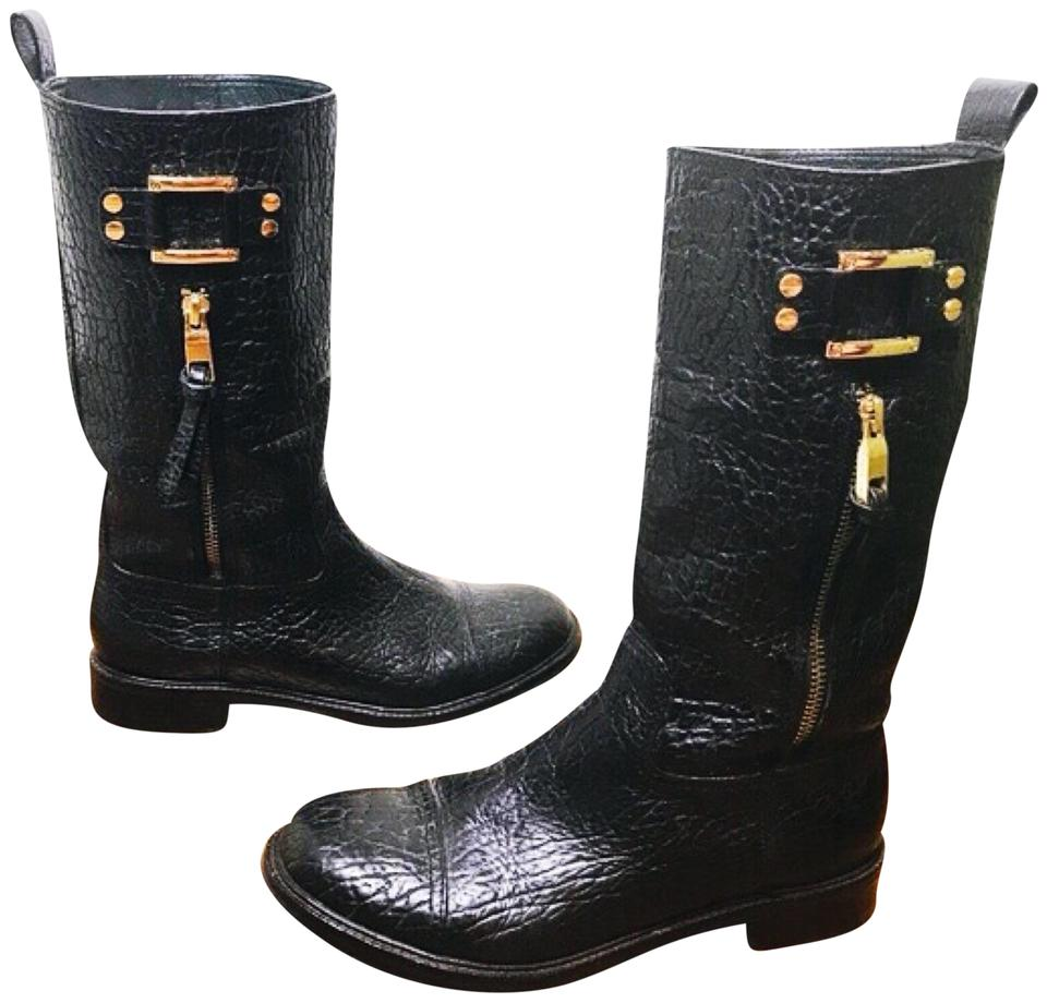 Tory Burch Black 'stowe Distressed Moto' Pebbled Leather Mid-calf Distressed 'stowe Boots/Booties 1dbf99