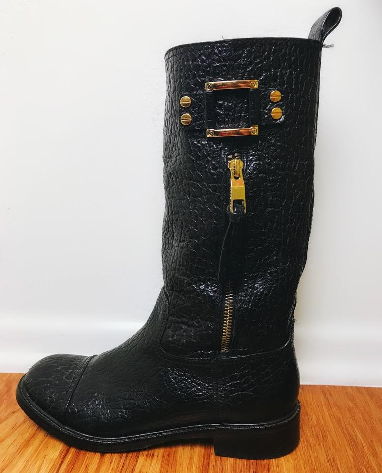 52e4d9cc6a0 Tory Burch Pebbled Leather Leather Distressed Black Boots Image 5. 123456