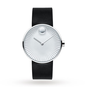 Movado NEW MENS MOVADO EDGE (3680001) WHITE ALUMINUM DIAL LEATHER STRAP WATCH
