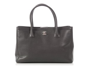Chanel Cc Leather Cerf Ch.p0614.04 Silver Hardware Tote in Gray
