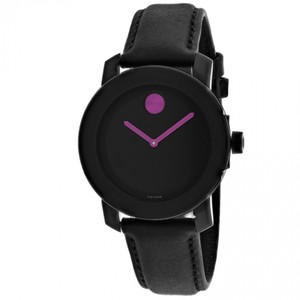 Movado NEW WOMENS MOVADO (3600482) BOLD BLACK LEATHER STRAP PINK PURPLE WATCH